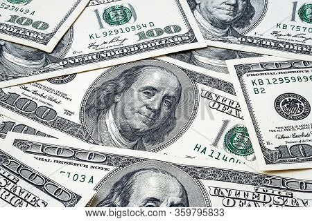One Hundred Dollars. Us Dollars Background. Closeup Many Banknotes Hundred Dollar Bills. American Cu