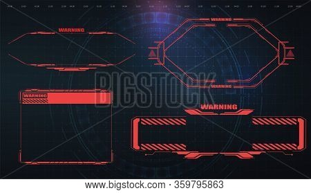 Futuristic Screens Hud, Gui, Ui And Titles Warning, Danger. Warning. Conceptual Layout With Hud Elem