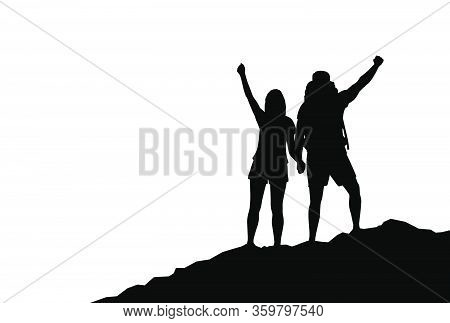 Couple Of Happy Hikers With Raised Hands On A Mountain Top. Travel, Tourism, Hike And Adventure Conc