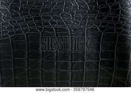 Black Genuine Leather Of Crocodile Skin As For Luxury Background.