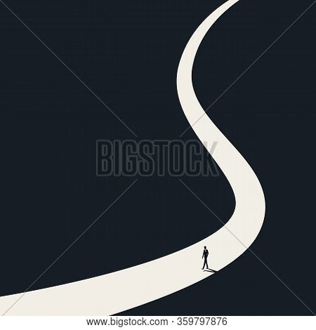 Loneliness, Solitude And Isolation Vector Concept. Symbol Of Own Path, Way, Direction And Thinking.