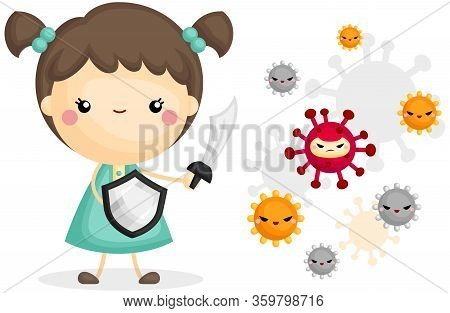 A Vector Of Cute Girl Fighting Viruses With His Sword And Shield