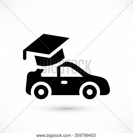 Driving School Simple Black Icon. Auto Education Logo With Car And Graduation Cap With Shadow Isolat