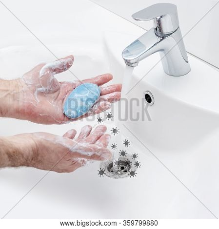 Washing Hands With Antibacterial Soap In Hot Water To Protect Against Spread Of Coronavirus Germs. V