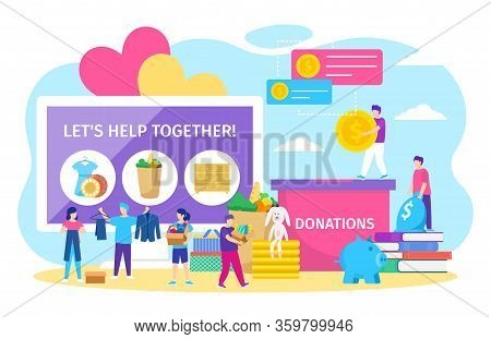 Charity Donations Vector Illustration. Cartoon Tiny People Donate Box Full Of Clothes Or Toys, Adult