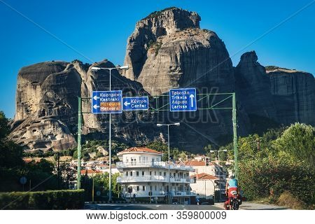 Kalambaka, Greece - September 14, 2017: Street View Of Kalambaka Town And Meteora Mountains, Citysca