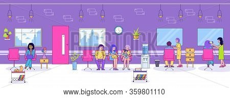 Hair Beauty Salon Vector Illustration. Cartoon Flat Line People Sitting In Chairs In Barber Shop Int