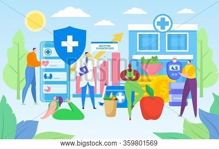 Invest In Health Care Vector Illustration. Cartoon Flat Doctor Character Analyzing, Advising Tiny Pa