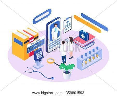 Isometric Medical Consultant Vector Illustration. Cartoon 3d Doctor Character Advising, Consulting T