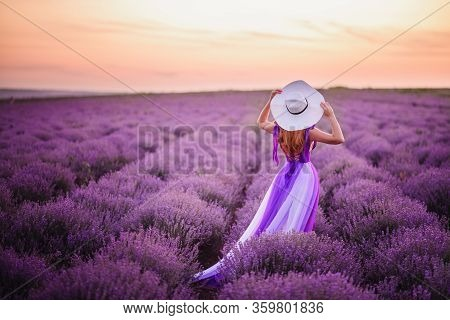 Young Redhead Woman In Luxurious Purple Dress Standing In Lavender Field, Rear View