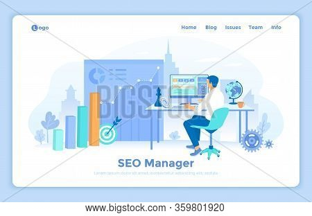 Seo Manager, Key Management, Content Marketing, Site Analytics. Seo Specialist Sitting At The Table