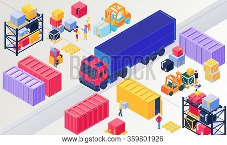 Isometric Logistics, Warehouse Vector Illustration. 3d People Loading Box In Pallet, Worker Characte