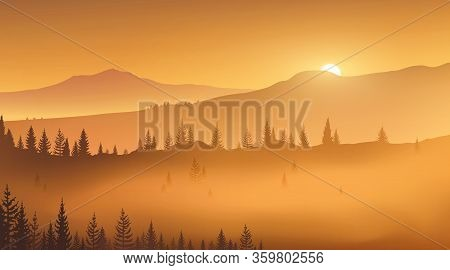 First Golden Rays Of Rising Sun In A Foggy Mountain Valley. Wild Nature. Vector Illustration, Eps 10