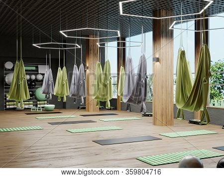 Empty Flying Yoga Studio, Empty Aerial Yoga Training Room Interior, Empty Fly Yoga Room In Gym With