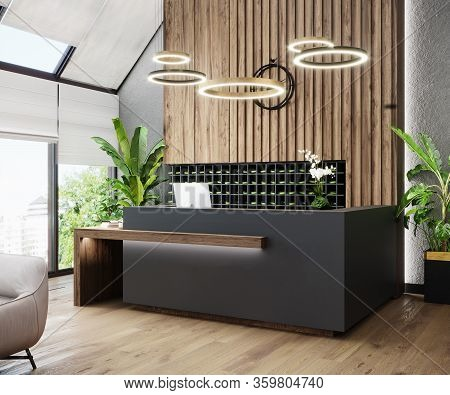 Modern Hall Interior With Reception Desk In Fitness Center With Wood Panel And Panoramic Windows, Wo