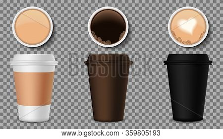 Coffee Cups Mockup With Top View. 3D Plastic Mocha Mug For Logo Cafe. Realistic Blank Container With