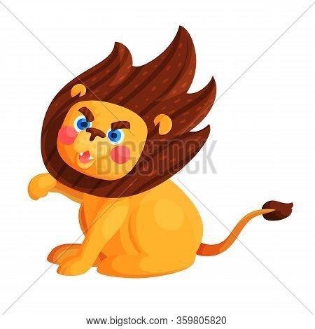 Circus Trained Roaring Lion Flat Vector Illustration. Wild Animal In Zoo Cartoon Character. Predator