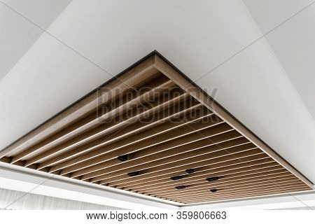 Contemporary Suspended Wood Ceiling,loft Style Ceiling,beautiful Wooden Ceiling,black Light Bulbs In