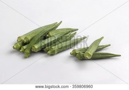 Bunch Of Fresh Okra Isolated On White Background