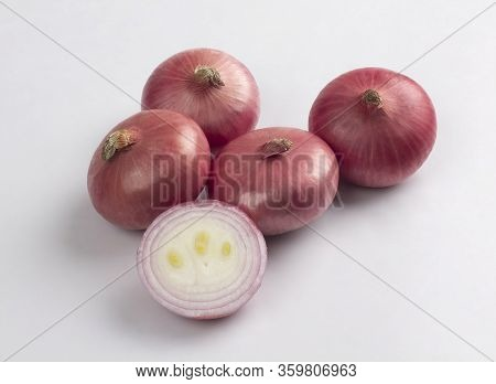Red Onion Bulbs Isolated On White Background