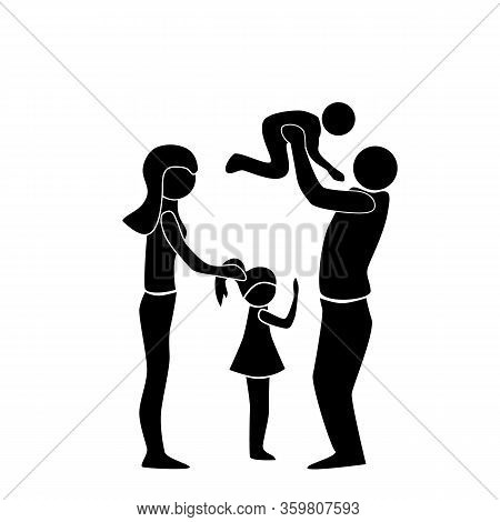 Family, People Silhouettes: Mom, Dad And Children. Family Relationships, Illustration