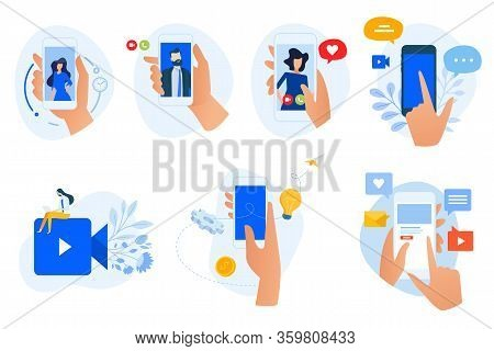Flat Design Concept Icons Collection. Vector Illustrations Of Social Network, Digital Communication,