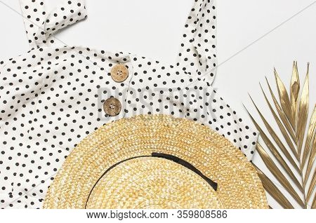 Summer Womens White Dress In Black Peas With Natural Wooden Buttons Straw Hat Golden Palm Leaf On Li