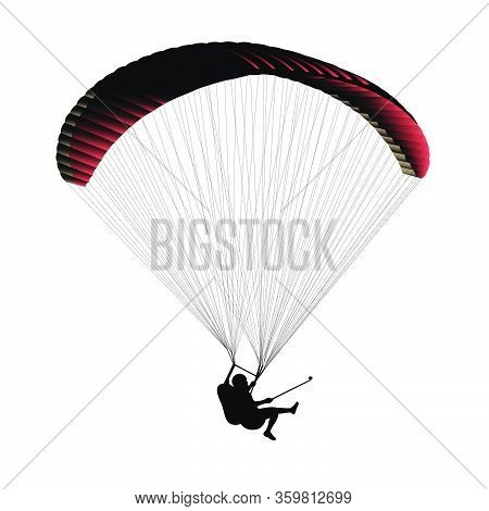 Silhouette Of Flying Paraglider Take A Selfie With Action Camera On A White Background. Vector Illus