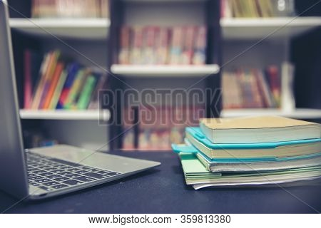 Desk For Student Work Online At Home Concept.laptop Diary And Book On School Table For Study Exam.wo