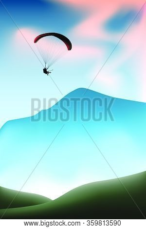Silhouette Of Flying Paraglider Take A Selfie With Action Camera In A Sky Above The Mountains. Vecto