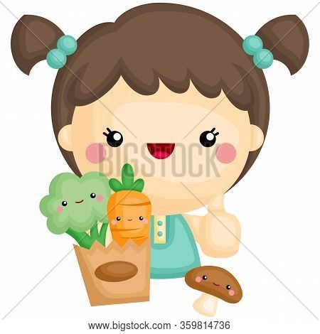 A Vector Of Cute Girl Holding A Grocery Bag Of Vegetables