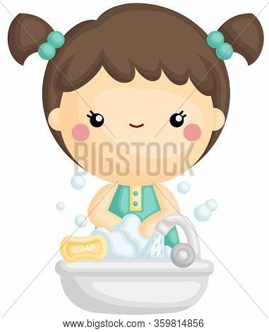 A Vector Of Cute Girl Wash Hands With Foaming Soap And Water