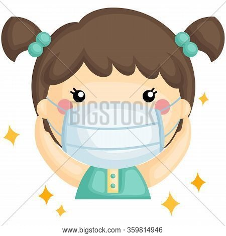 A Vector Of Cute Sick Girl Using Mask To Prevent Droplet Transmition