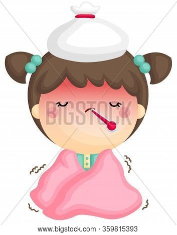 A Vector Of Cute Girl With Fever And Shivering Inside Her Blanket
