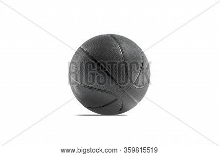 Blank Black Rubber Basketball Ball Mock Up, Half-turned View, 3d Rendering. Empty Sports Bal For Thr