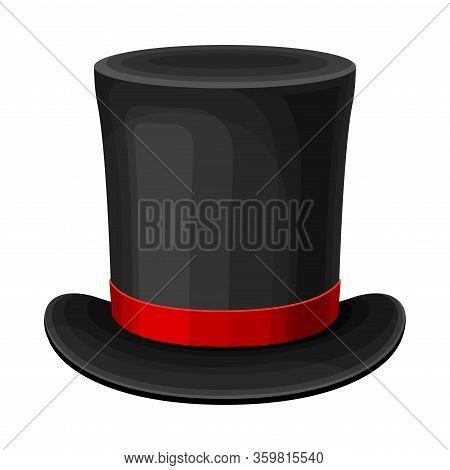 Black Top Hat With Red Ribbon And Wide Brim Vector Illustration