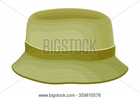 Unisex Hat With Brim And Ribbon Isolated On White Background Vector Illustration