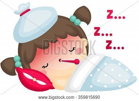 A Vector Of Cute Sick Girl Sleeping With Fever And Being Compressed In Her Head