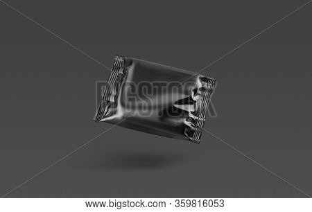 Blank Black Square Chocolate Bar Foil Wrap Mockup, No Gravity, 3d Rendering. Empty Sachet Packing Fo
