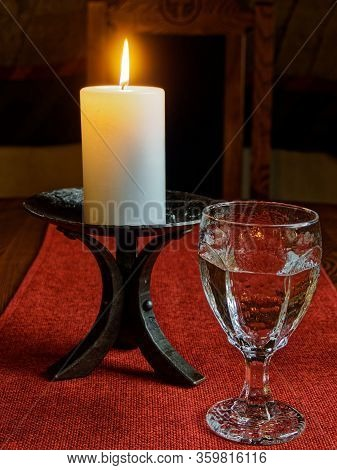 The Candle Was Burning On The Table, The Candle Was Burning. The Candle Flickered. The Flames Quiver