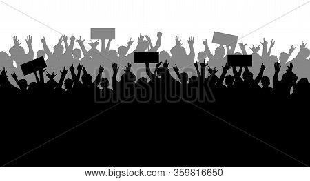 Concept Of Protest And Strike, Demonstration And Revolution. Silhouettes Of Crowds Of People With Ba