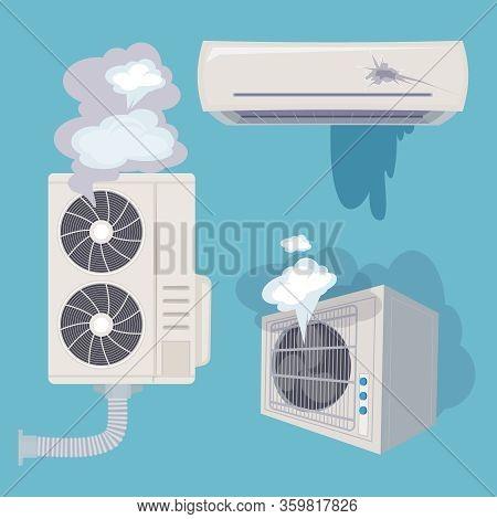 Damaged Conditioner. Broken Home Air Systems Wind Ventilation Efficient Vector. Illustration Conditi