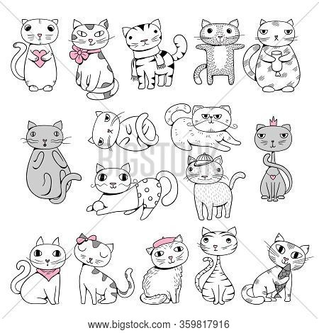 Funny Cats. Doodle Pets Hand Drawn Characters Comic Animals Vector Illustrations. Comic Kitten, Funn