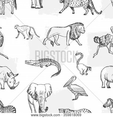 Sketch Animal Pattern. African, Asian Fauna Background. Elephant And Monkey, Lion And Crocodile Vect