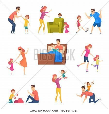 Parents And Kids. Children Good Time In Happy Family Father Mother Playing With Son And Daughter Vec