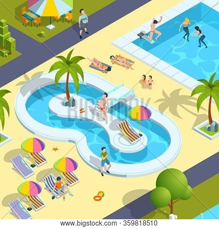 Pool Relax People. Traveller In Resort Hotel Swimming Enjoying Kids Playing In Water Luxury Holidays