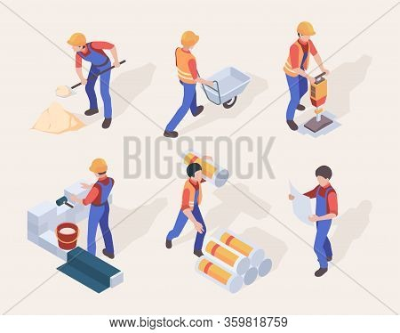 Workers Isometric. Builders In Uniform Different Construction Machines And Tools Vector People Set.