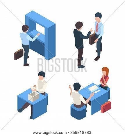 Bank Managers. Business Stuff Client Service People Banking Customers Reception Person Vector Isomet