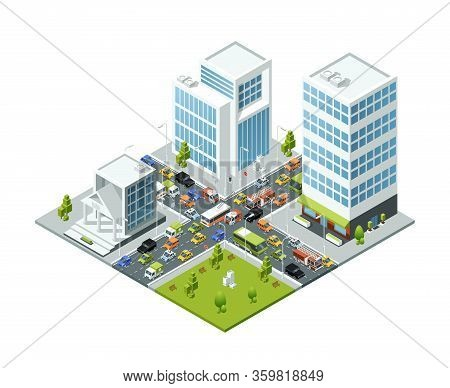 Crossroad Jam Traffic. Isometric Urban Transport Active Movement In Jammed City Vector 3d Buildings