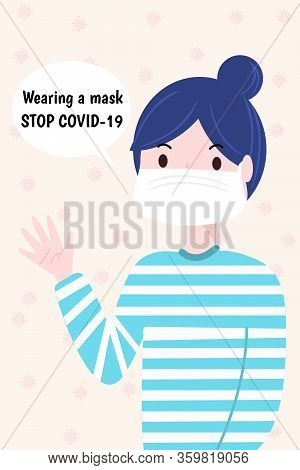 Woman Wearing Mask. Protection For Covid-19 Concept.